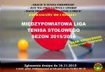Plakat - Rozgrywki Międzypowiatowej Ligi Tenisa Stołowego