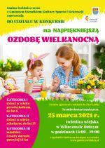 Na plakacie mama z córką malują jaja wielkanocne, na stole koszyk żółtych kwiatów.  Kolorystyka żywa, wiosenna, dominują kolory zielony i żółty.