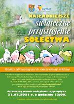Plakat w kolorystyce zielonej, na plakacie stylizowane jaja-zajączki